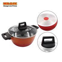 MR.DIY Premium Non-Stick Marble Stone Casserole Pot with Glass Lid (24cm)