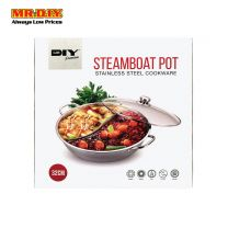 MR.DIY Premium Stainless-Steel Steamboat Pot with Glass Lid (32cm)