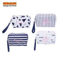 WUHUA Zipper Pink Geometric Design PU Leather Cosmetic Pouch Bag