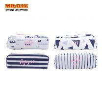 WUHUA Zipper Pink Geometric Design PU Leather Cosmetic Case Bag