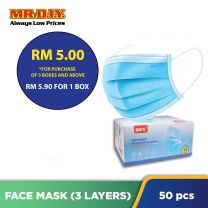 MR.DIY Disposable 3-Layer Filter Face Mask Non Medical (50pcs) - 5 BOXES AND ABOVE FOR RM5.00 EACH