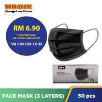 MR.DIY Disposable 3-Layer Filter Face Mask Non Medical (50pcs) - Black