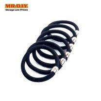 MR.DIY Fashion Jewellery Single Beaded Rubber Hairband  Black (6pcs)