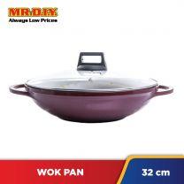 MR.DIY Premium Double Holder Non-Stick Wok Pan With Glass Lid (32cm)