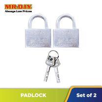AGASS Safety Extra Chrome Plated Brass Padlock (2pcs x 50mm)