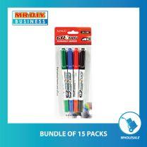 XINLU Multi-Colour Dual Tip CD DVD Permanent Marker (4pcs)