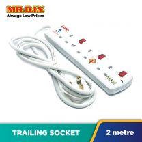LWD 3-Gang Way Extension Trailing Socket (2m)