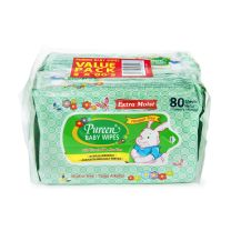 PUREEN Extra Moist Baby Wipes Fragrance Free (2 x 80's)